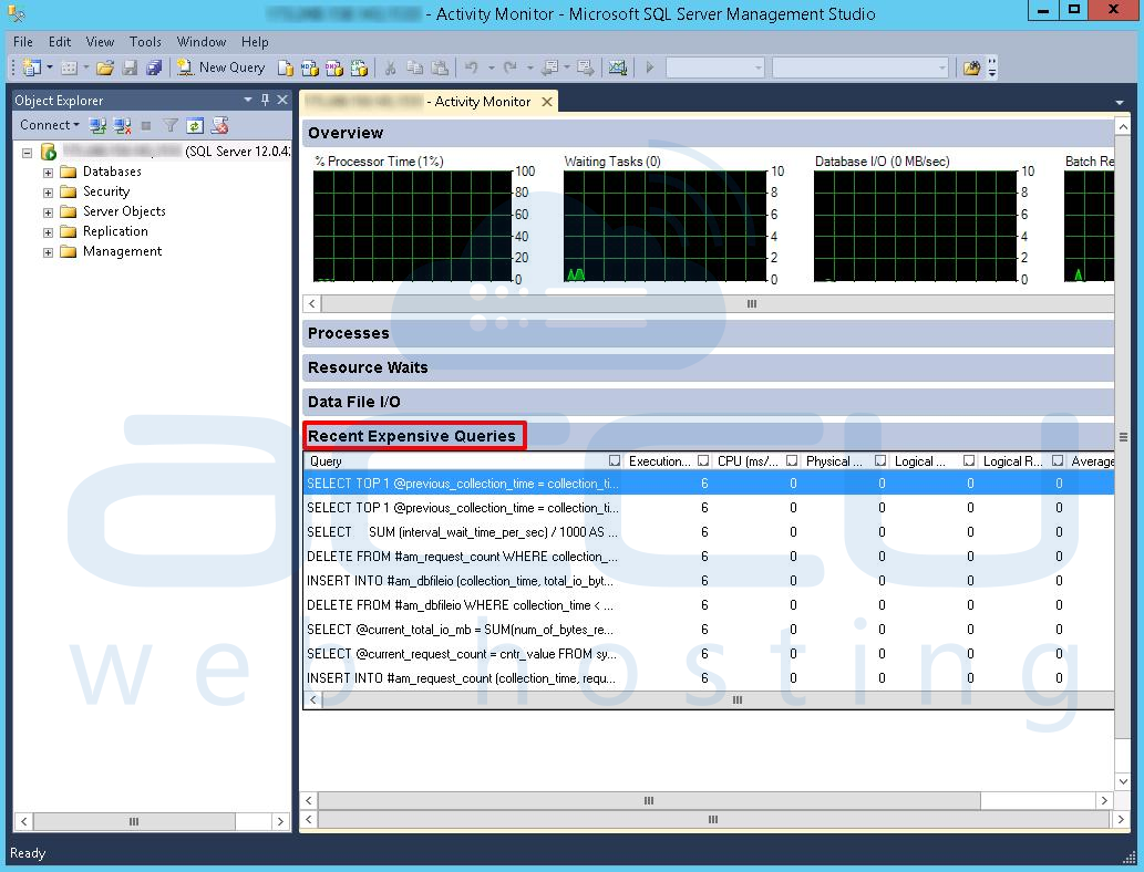 how to use mssql activity monitor to find the most expensive query