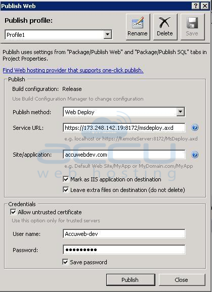 Screenshot of Web Deploy publishing method
