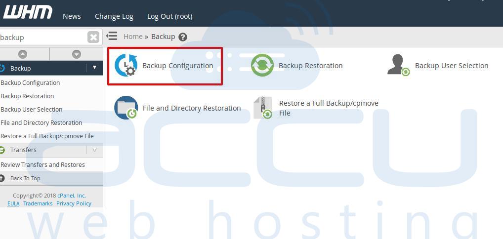 Backup configuraiton