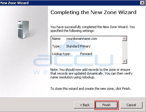 Click on Finish to Complete the Wizard