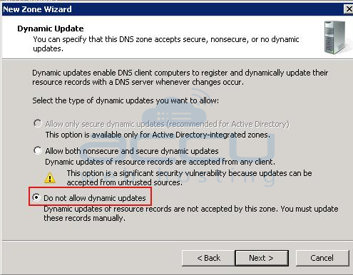 Select Allow Both Non Secure and Secure Dynamic Updates Option