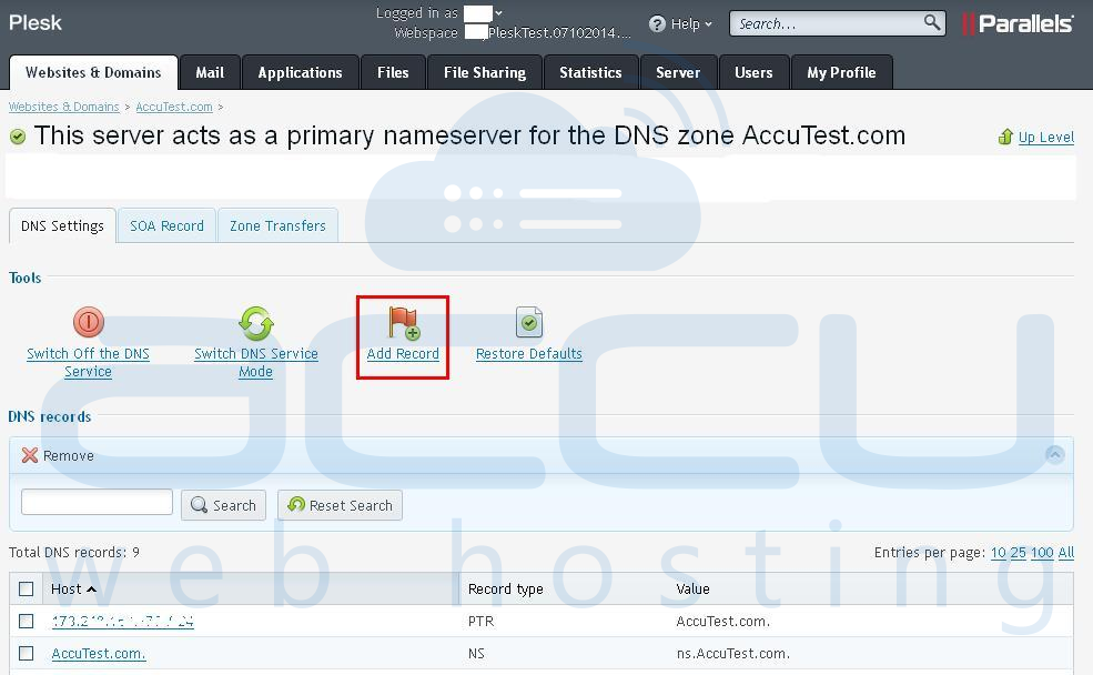 Add DNS Record for a Domain