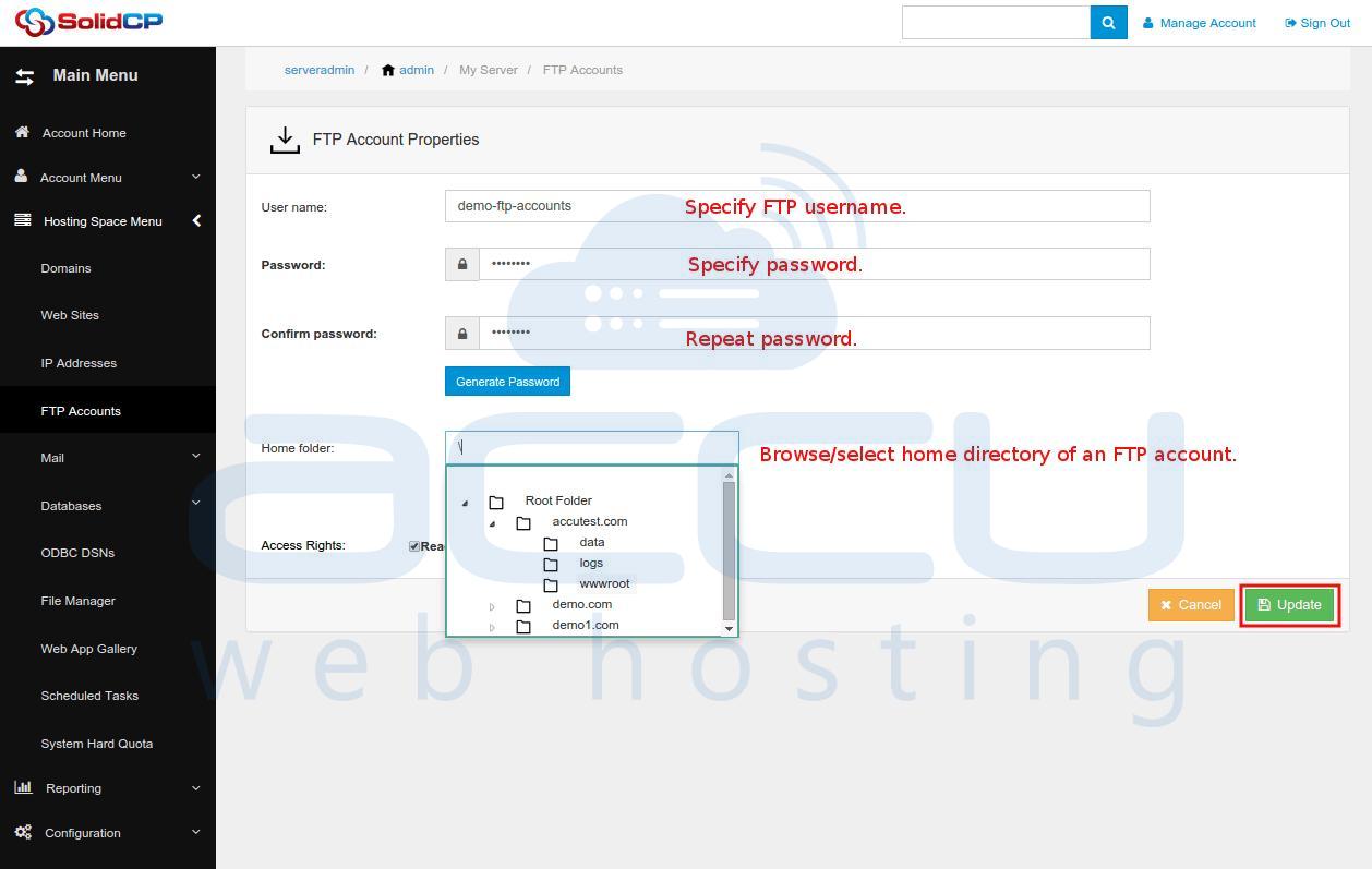 FTP Account Properties