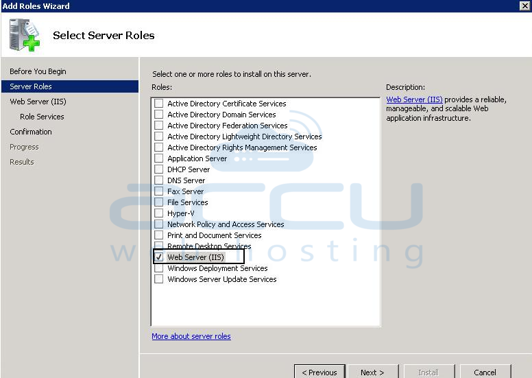 Select Web Server (IIS) Role from the List