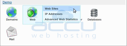 Select Websites Option from WebsitePanel