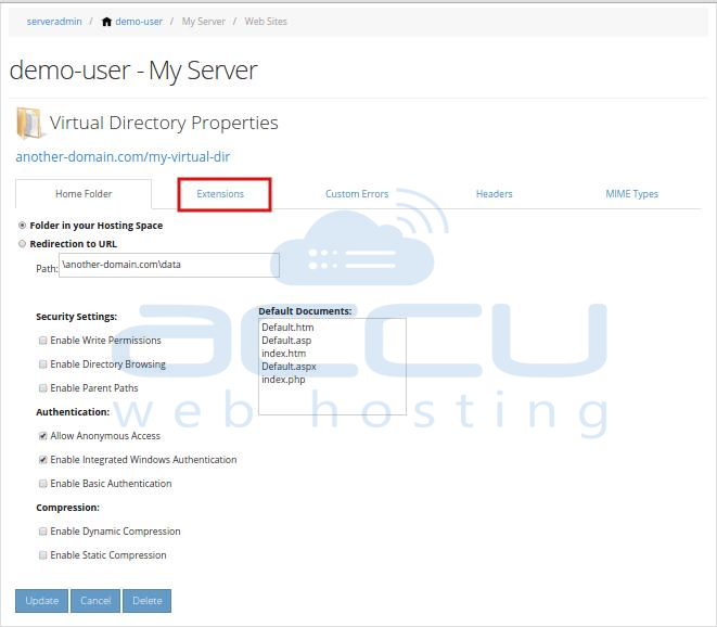 Virtual Directory Properties