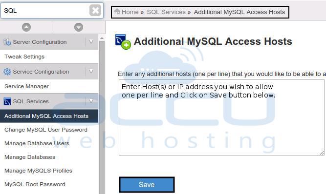 MySQL Access Host