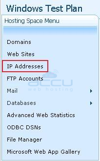 Go to IP Addresses Option under Hosting Space