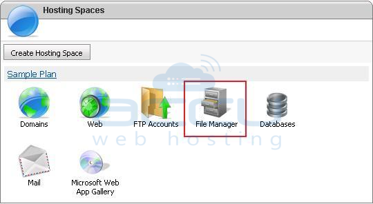 Select File Manager Option from WebsitePanel