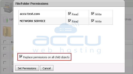 Select Replace Permissions on Child Objects Option
