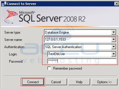 Microsoft SQL Server Management Studio Login Screen