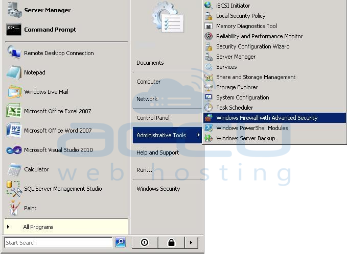 Open Windows Firewall with Advanced Security