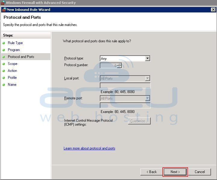 Select Protocol Type under Protocol and Ports Section