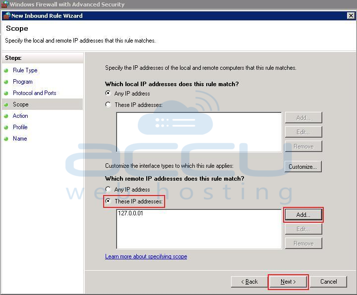 Specify Remote IP Address or its Range under Scope Section