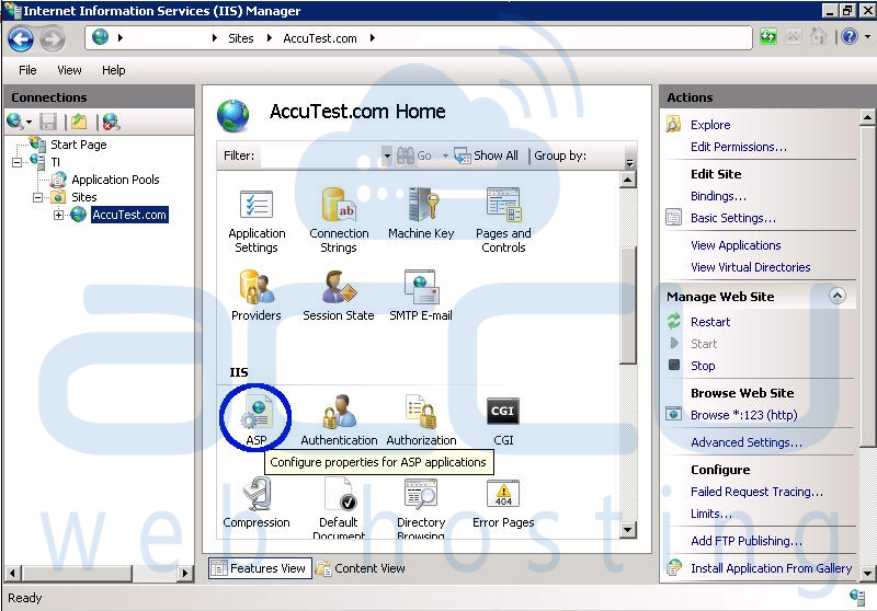 Select ASP Option from IIS