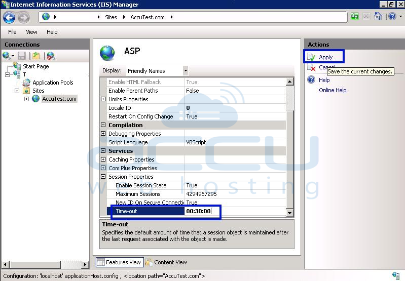 How to change ASP session timeout from IIS 7