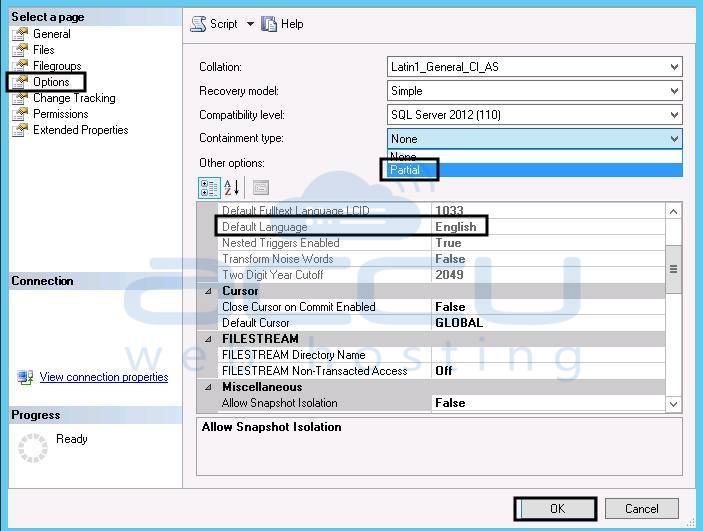 How to change database language in MS SQL 2012 server