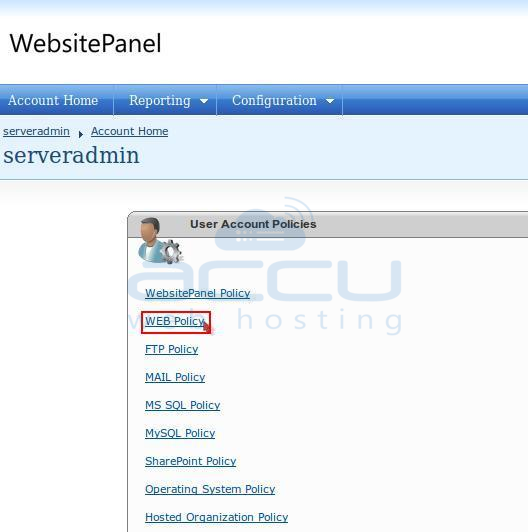 Click on Web Policy Option