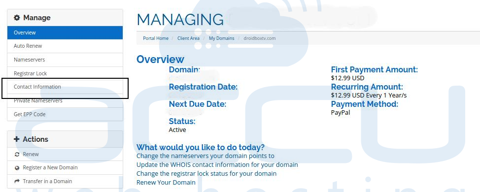 Manage Domain Contact Details