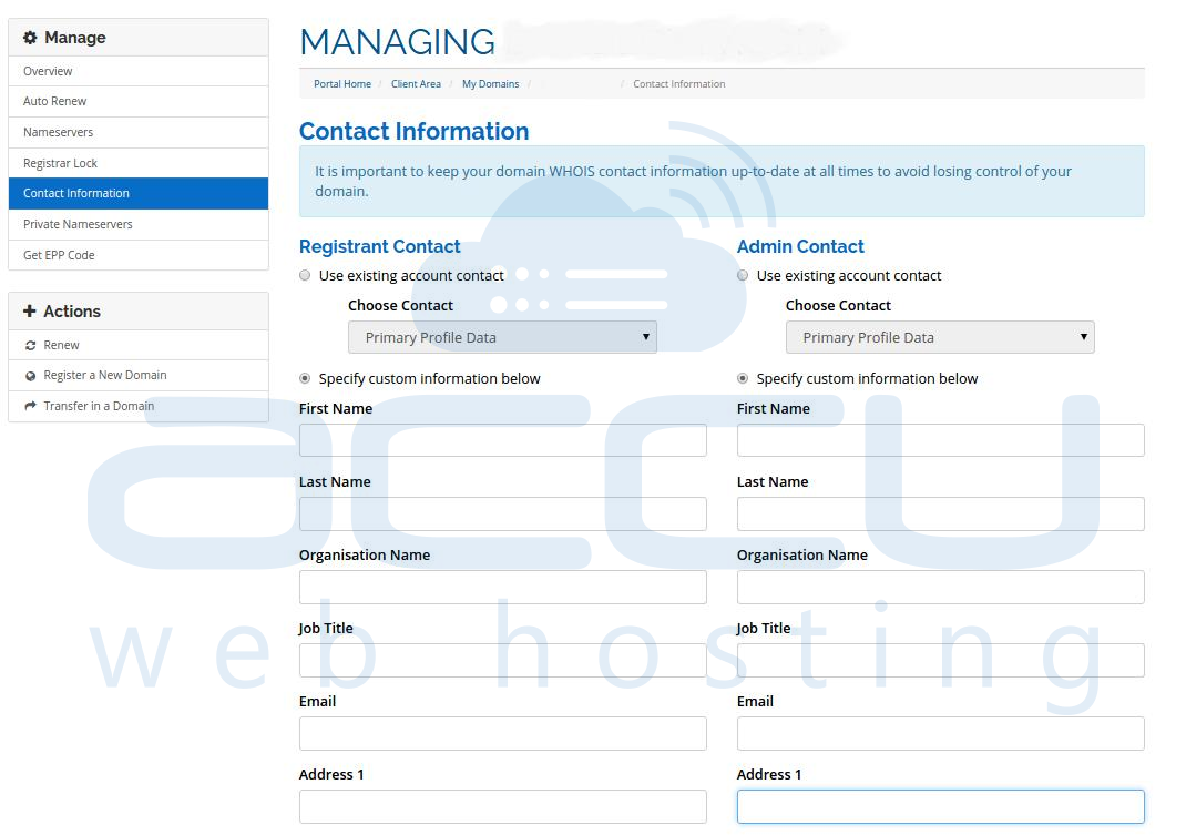 View and Edit Domain Contact Information