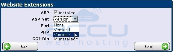 Select Desired .Net Version from Dropdown