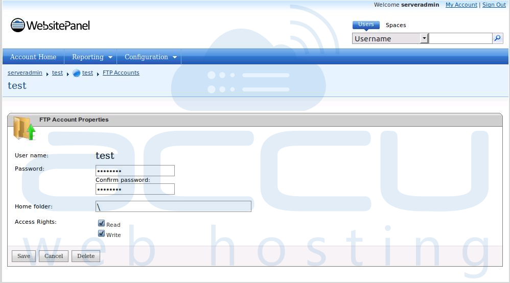 Reset FPT Account Password from WebsitePanel