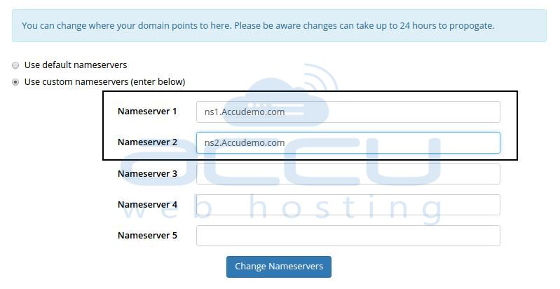 Change the Nameservers of a Domain