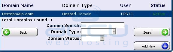 Select a Domain for which Email Account Password Reset Requires