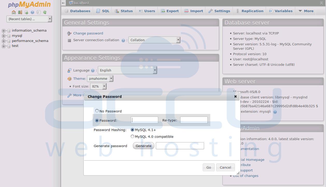 Change phpMyAdmin Password