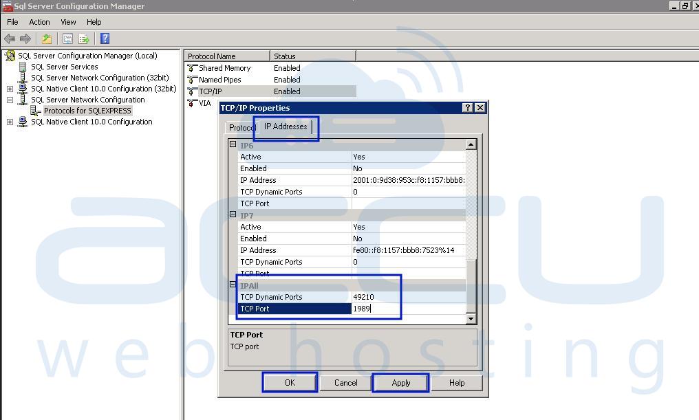 Specify New MSSQL Server Port Number