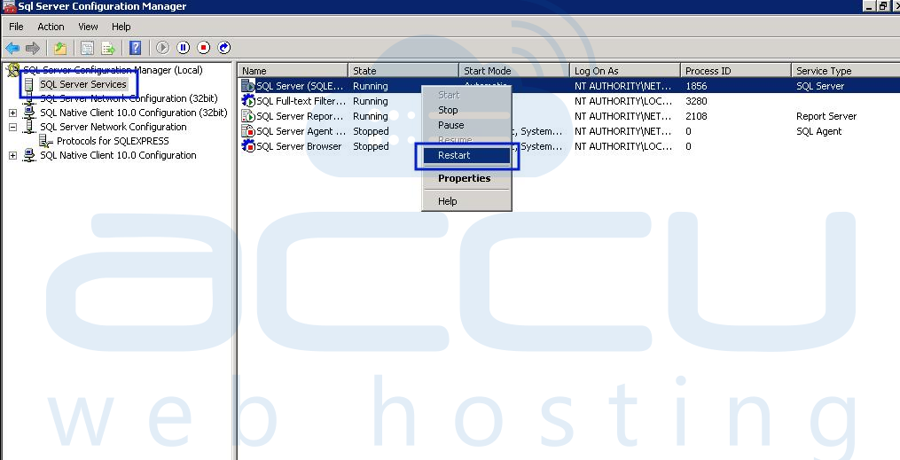 Restart MSSQL Server's Service