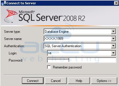 Specify New Details to Connect to MSSQL Server 2008