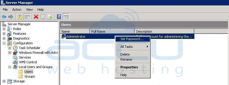 Click on Set Password... Option from User's Properties