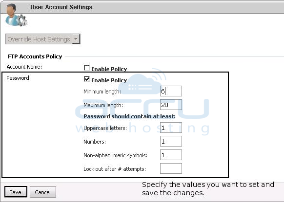 FTP Account Policy