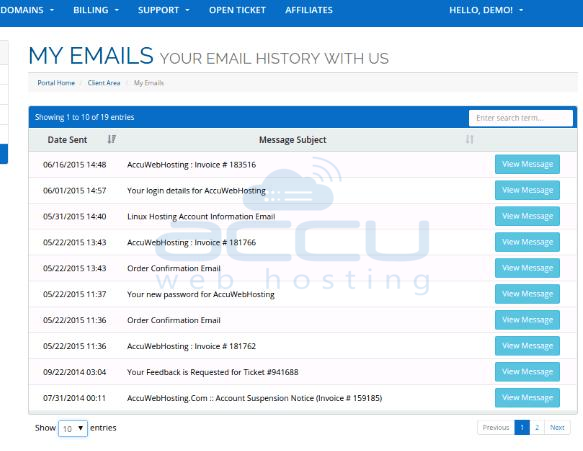 Review Emails Sent to You by AccuWebHosting.com
