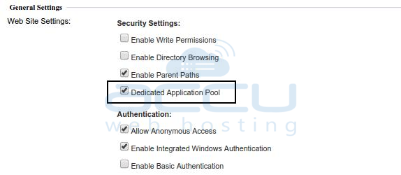 Tick Dedicated Application Pool Option