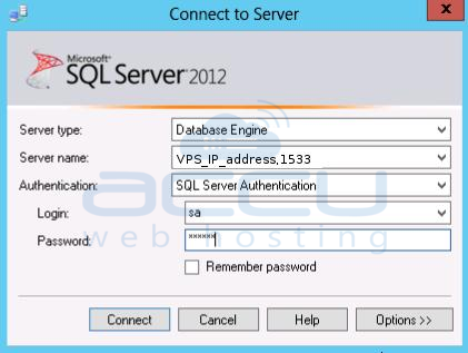 Specify Details to Connect to MSSQL 2012 Server