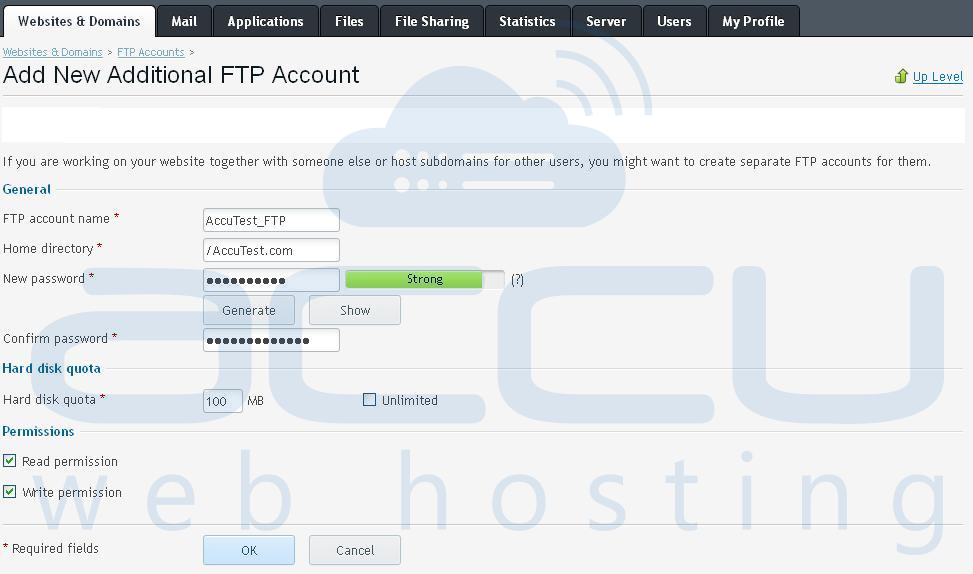 Fill Required Details to Add a New FTP Account