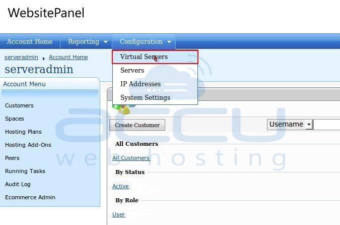 Go to Virtual Servers Option from Configuration Menu