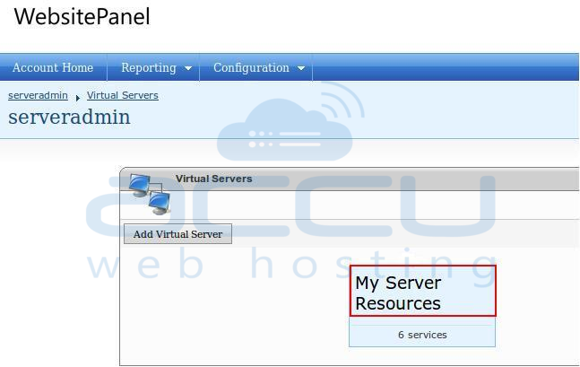 Click on your Virtual Server Name