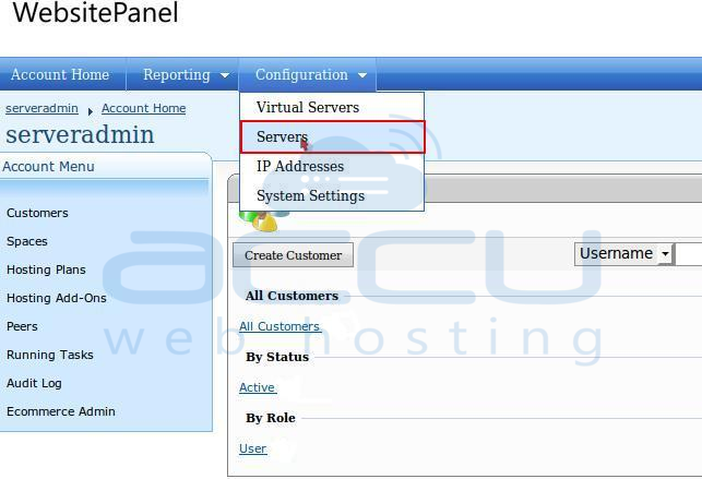 Go to Servers Option from Configuration Menu