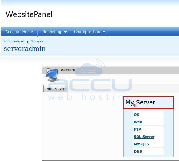 Click on your Server Name