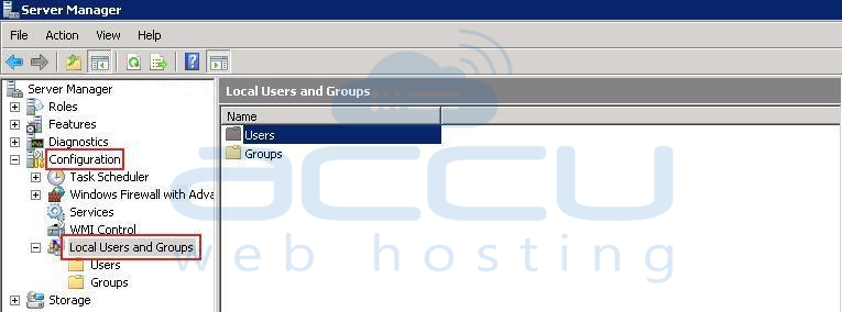 Click on Users from Local Users and Groups Option