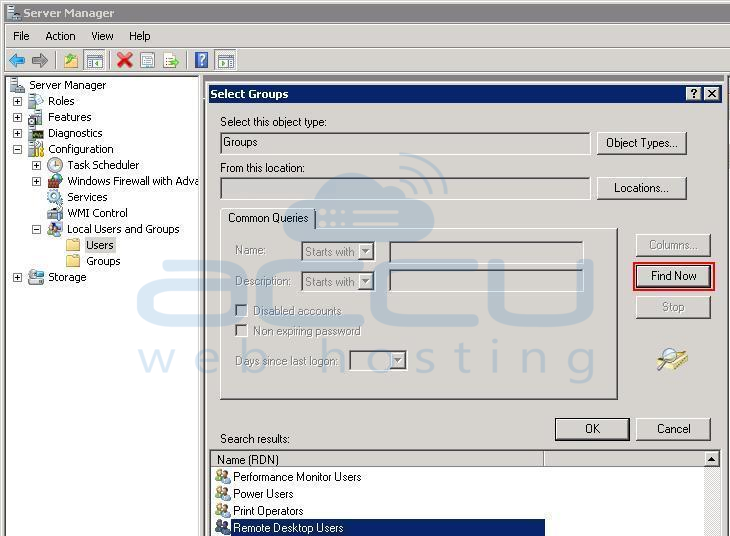 Click on Find Now and Select Remote Desktop Users Group