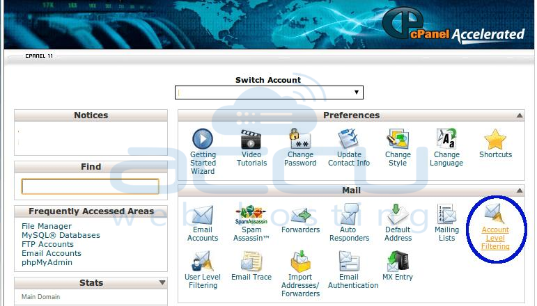 Account Level Filtering in cPanel