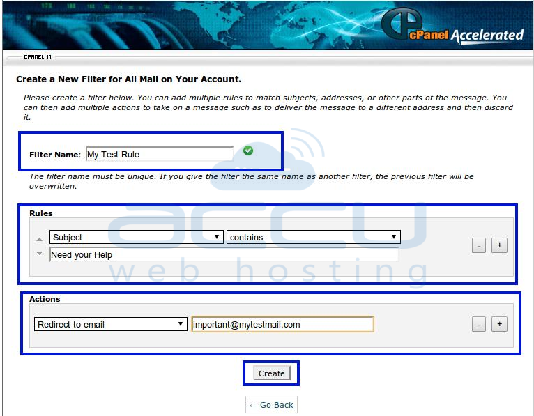 Fill All Details to Create Account Level Filtering