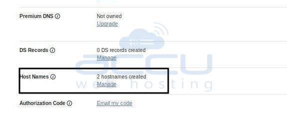 Select Hostnames Option to Create Private Nameservers