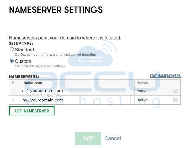 Set Hostnames as Nameservers for Your Domain
