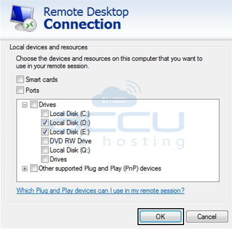 Select C: Drive of your Local System while Connecting to a VPS/Server