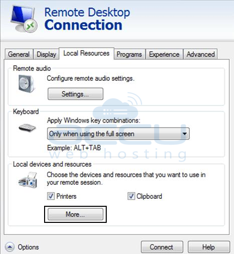 Expand More Settings of Remote Desktop Connection